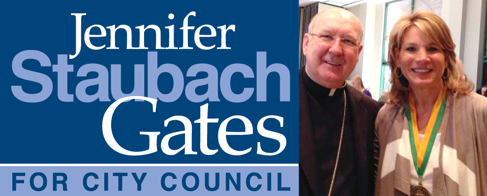 Bishop Farrell and Jennifer Staubach Gates